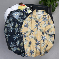 Summer five-point sleeve shirt male loose beach flower shirt Hawaii seaside holiday travel short-sleeved clothes tide