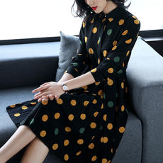 Deer song 2018 spring new long wave point temperament ladies chiffon dress female Slim was thin A word skirt