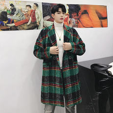 Winter designer lattice control double-breasted in the long section of the coat tide brand men's Korean style chic woolen coat