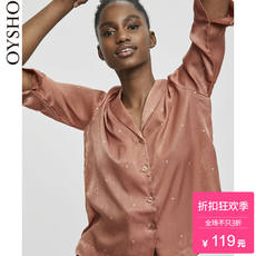Spring and summer discount Oysho dot brown V-neck long-sleeved women's home service pajamas blouse 31080151658