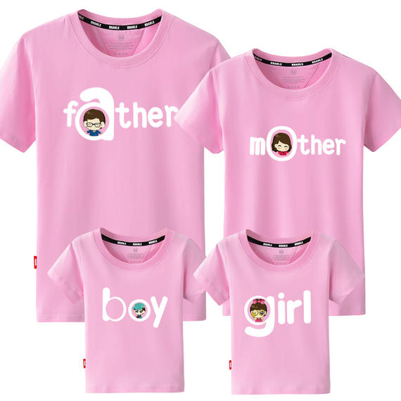 Zun Kara parent-child summer dress 2018 new wave family three family full-length short-sleeved T-shirt mother
