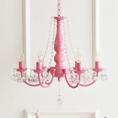 北欧ins田园韩式粉色白色公主女孩儿童房间卧室餐厅水晶吊灯