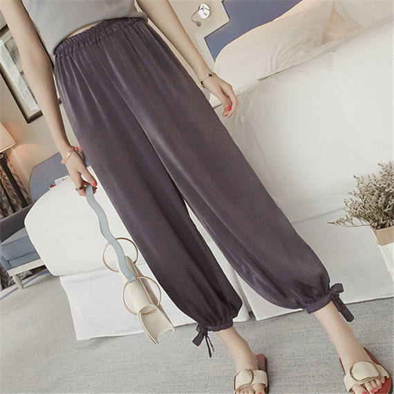 2018 spring and summer new harem pants loose lantern pants female chiffon beam pants nine points vertical wide leg casual pants