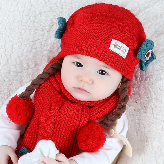 Baby hat autumn and winter 6-12 months Korean version of the princess hat female baby wig hat girls wool hat 1-2 years old