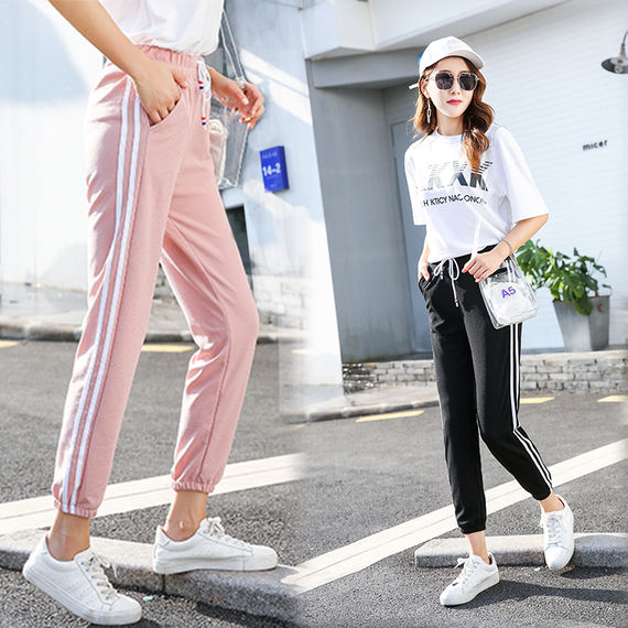 Summer sports pants female students bloomers Korean version of the loose sunscreen ins Harajuku harem pants beam feet eight wild
