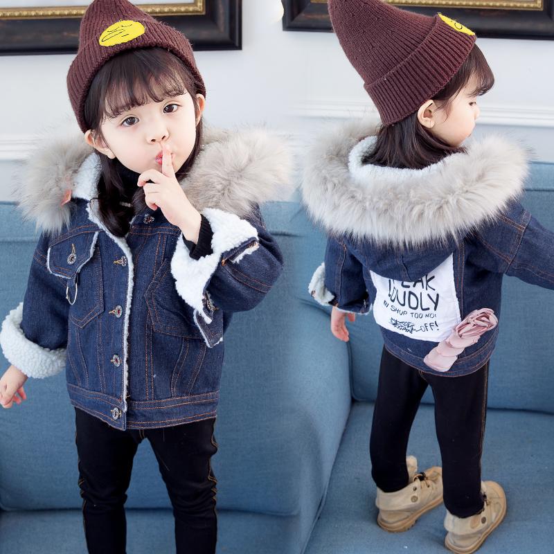 女童冬装加绒牛仔衣2018新款1-3岁宝宝韩版棉服5儿童加厚洋气外套
