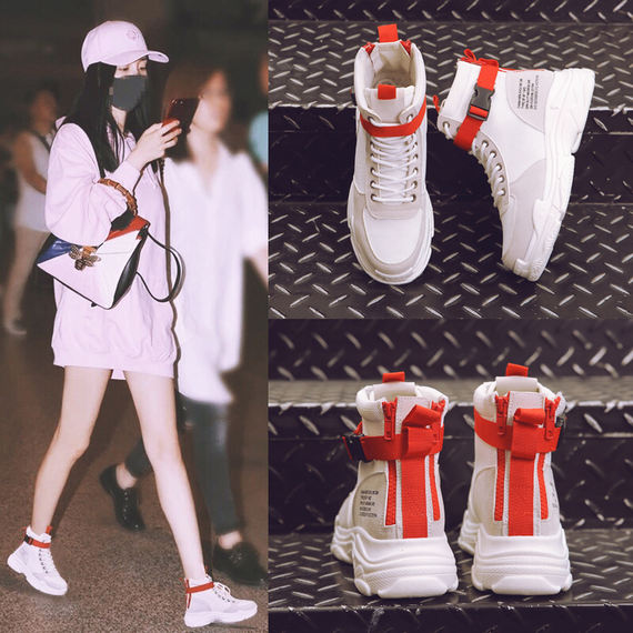 Korean version of high-top shoes women's hip-hop shoes thick-soled sneakers spring and autumn 2018 new wild ins super fire shoes