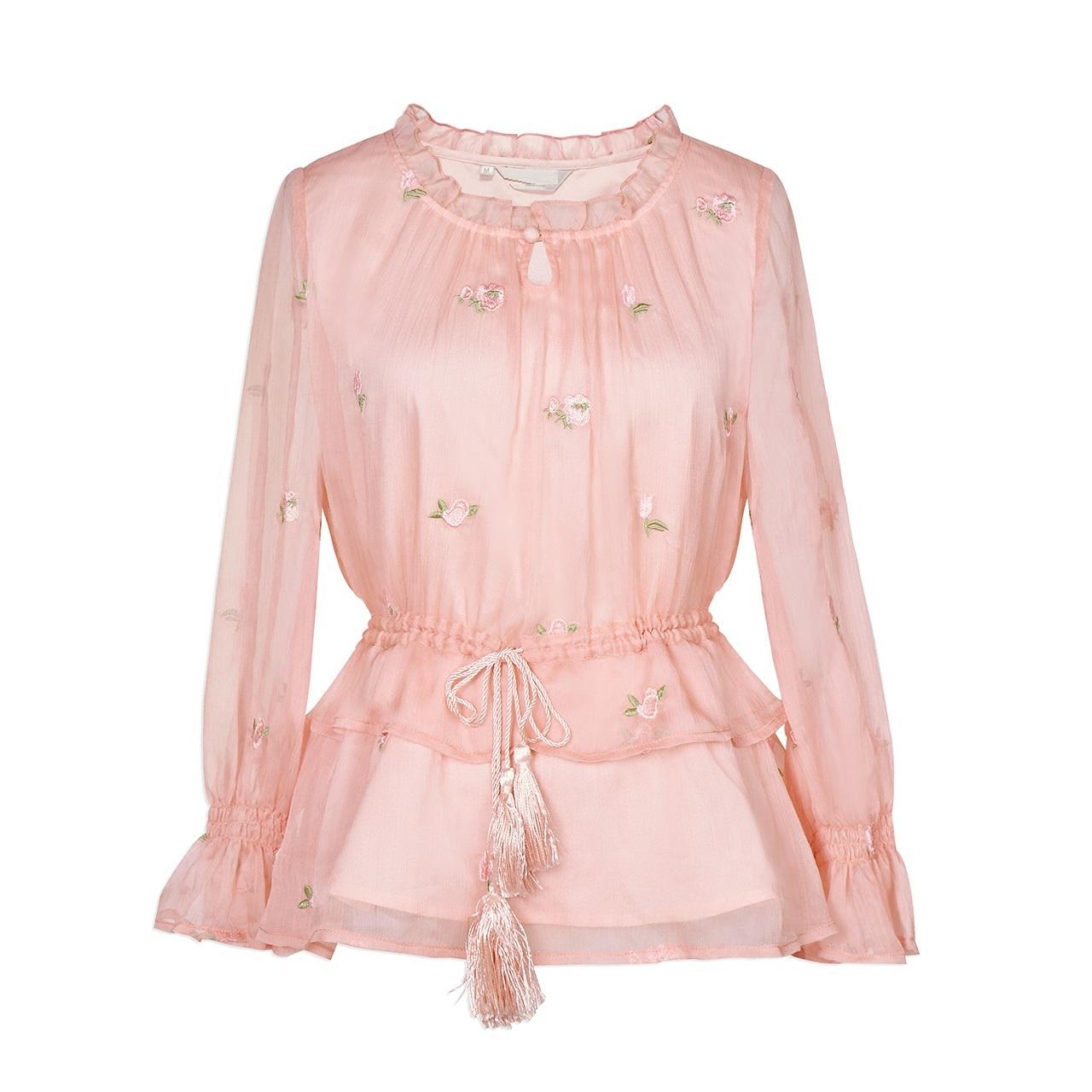 why2018新款女装春装收腰显瘦百搭绣花长袖雪纺衬衫