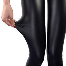 New imitation leather leggings wear thin section leather pants female black feet trousers slim tight elastic large size pants