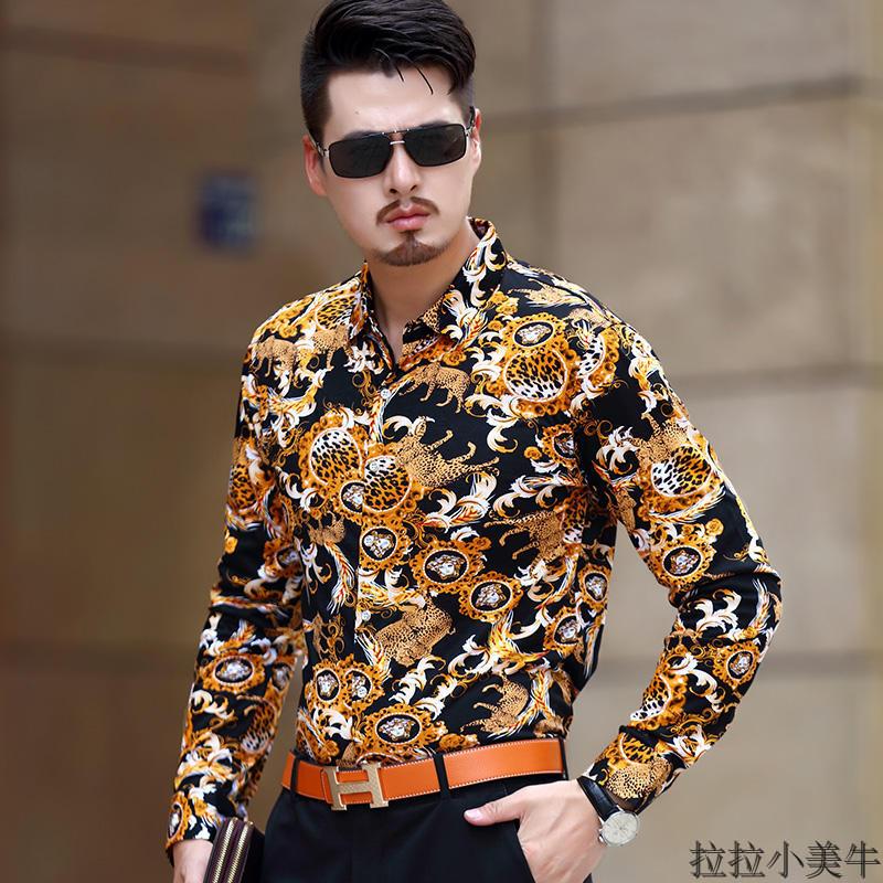 春秋季男士碎花衬衫长袖印花薄款衬衣男中青年双丝光棉新款男装潮
