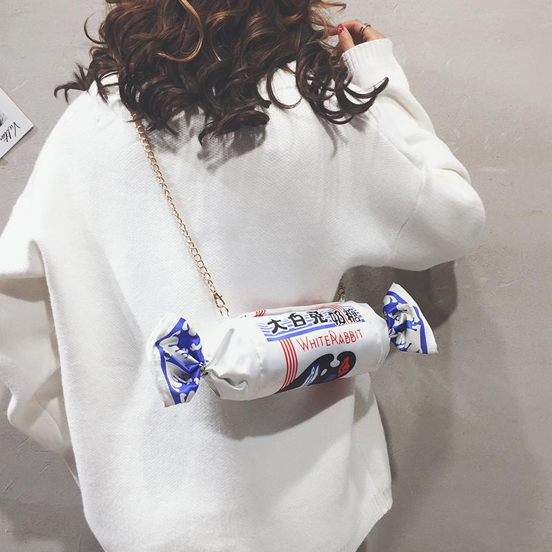 可爱帆布大白兔奶糖链条上新包包女2019新款创意仿真单肩斜挎包潮
