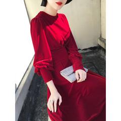 2018秋冬装新款名媛气质中长款修身显瘦红色灯笼袖金丝绒连衣裙女