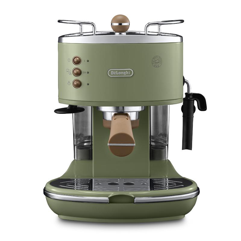 意大利德龙进口复古意式泵压半自动咖啡机家用小型ECO310 2年质保