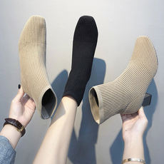 Autumn booties shoes female 2018 new women's boots and 踝 wild square head thin knit elastic socks boots women's shoes