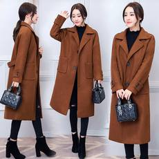 Temperament simple coat female autumn and winter new loose long quilted wool coat large size women's W8D176