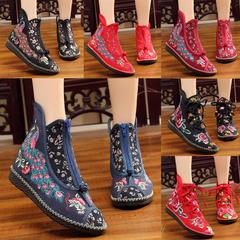 平底秋冬款单靴民族风绣花鞋老北京刺绣女靴子圆头低筒系带拉链鞋