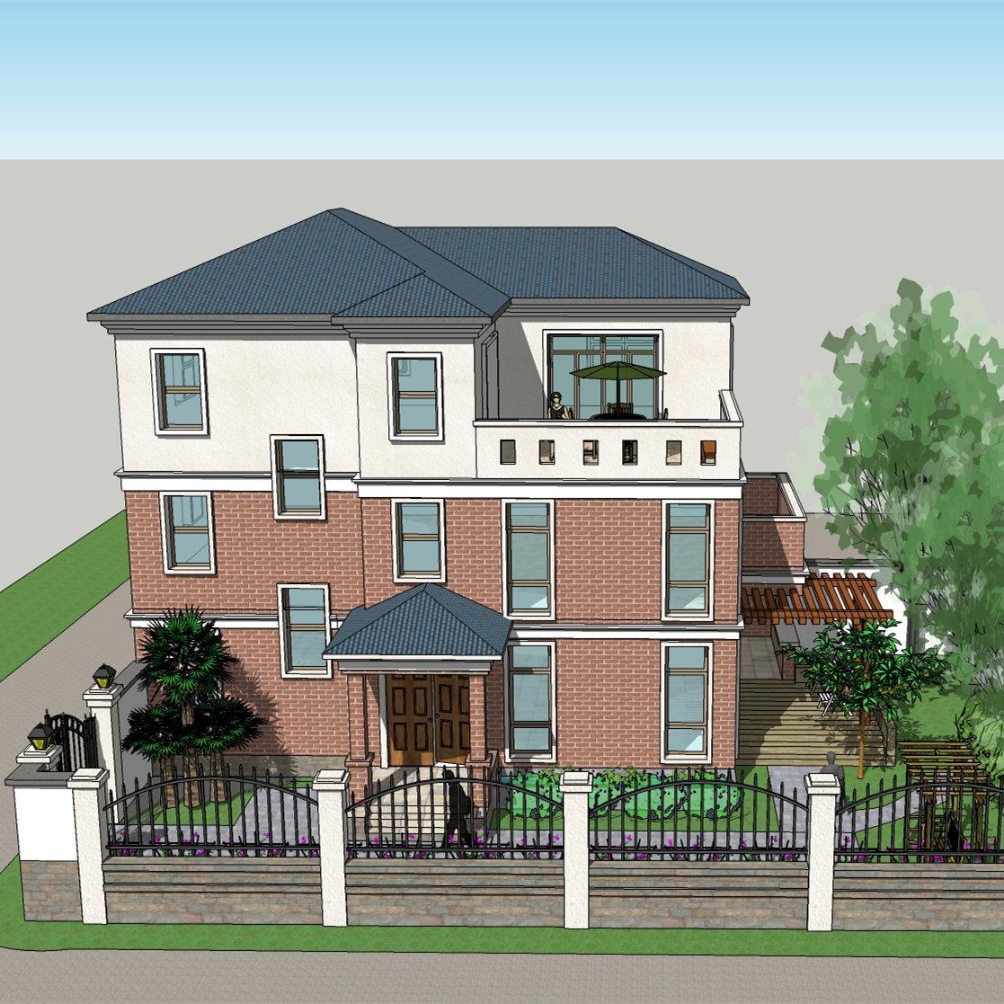 两层半江苏靖江现代风格别墅图纸设计两层半带大露台三层框架结构图片