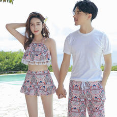 Couples Swimsuit Dress Bikini Three-piece Small chest Conserve High waist Beach Lovers Hot swimsuit