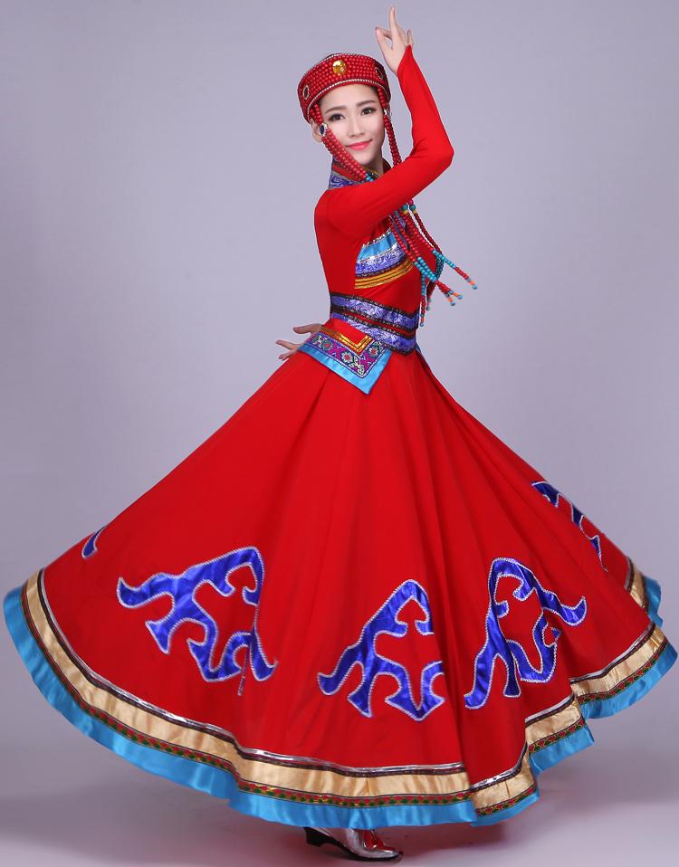 蒙古服装女民族风蒙古袍新款成人现代蒙族舞蹈演出服
