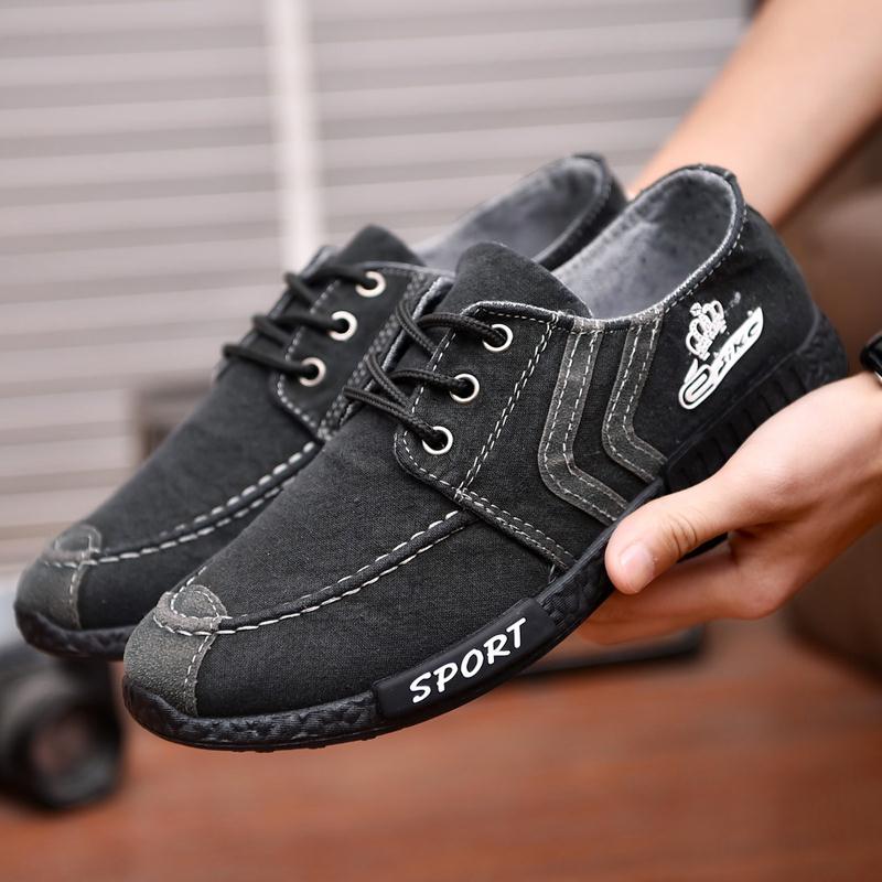 春秋季男士低帮帆布鞋韩版潮鞋青少年休闲鞋子透气板鞋学生布鞋子
