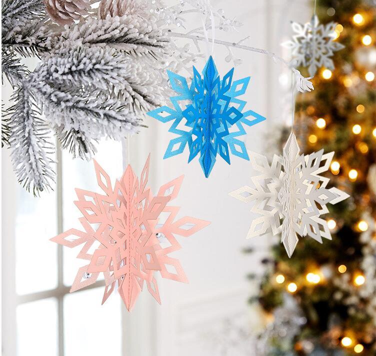 粉色蓝色白色银色立体卡纸雪花片挂饰装橱窗新年圣诞节派对装饰