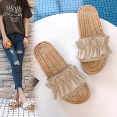 Korean version of the slippers female summer flat with non-slip 2018 new fungus lace flip-flop flat slippers and slippers