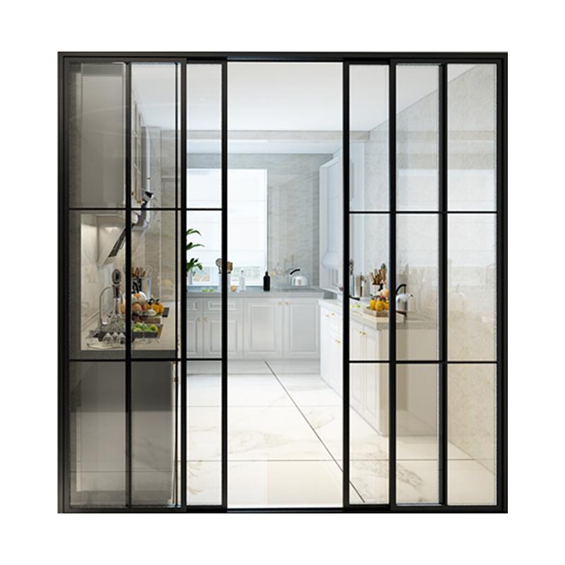 吊轨厨房推拉门阳台玻璃门黑色框钛铝镁合金推拉门卫生间移门定制