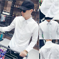 Spring white shirt men's long sleeve Korean version of the trend of self-cultivation casual solid color shirt men's short-sleeved shirt professional tooling