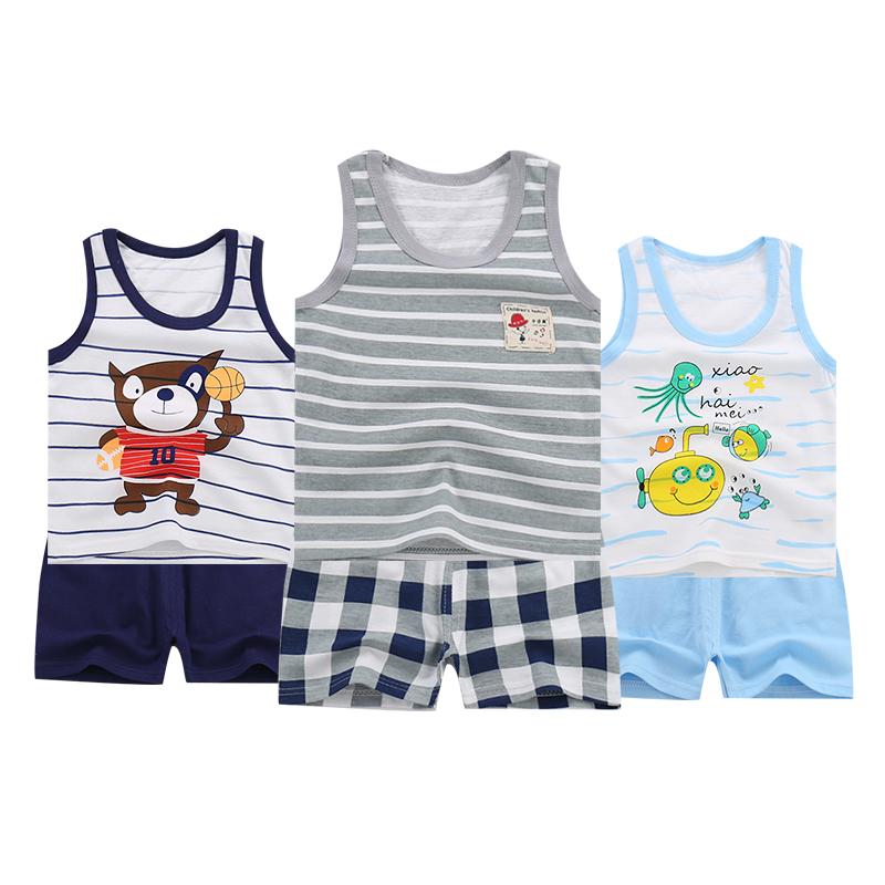 夏童装儿童套装纯棉男童背心短裤宝宝两件套薄款女童婴儿衣服无袖