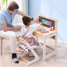 Children's study table and chair set solid wood can be raised and lowered pupils desk boys and girls simple home writing desk