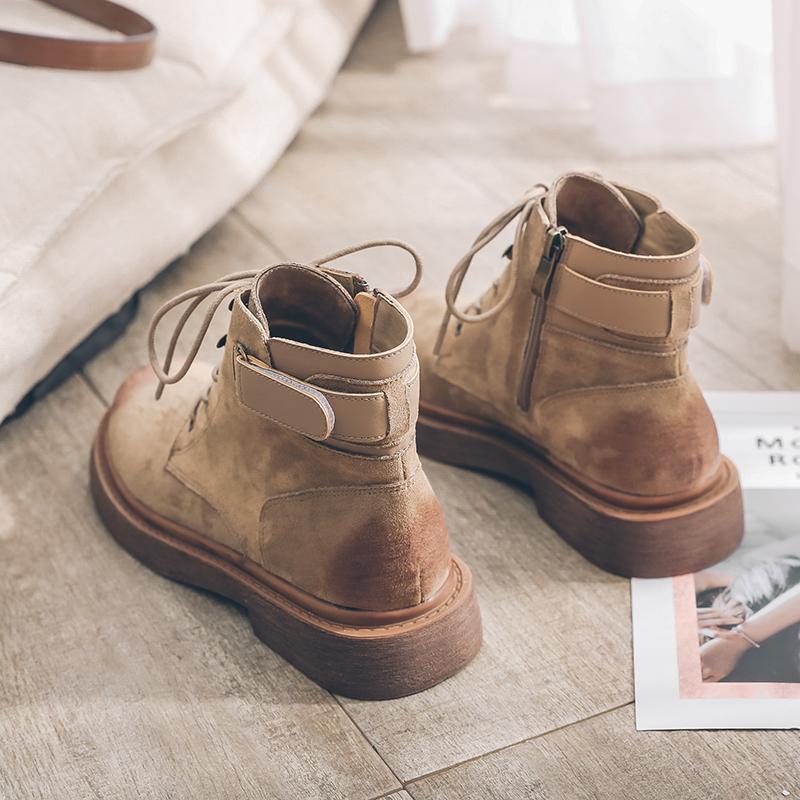 英伦风女靴复古平底短靴2019秋冬新款马丁靴女平跟磨砂系带机车靴
