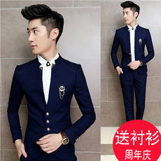 Autumn Korean version of the self-cultivation stand collar small suit male tide fashion hair stylist set short and small size suit