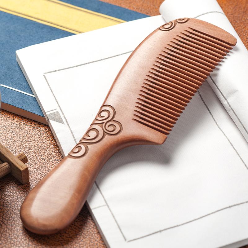 天天见木梳深山桃木梳顺发檀香梳手工定制雕刻梳礼品梳梳子