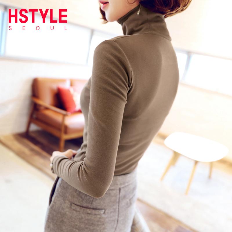 韩都衣舍2019春装新款女装韩版修身高领套头打底衫针织衫JM9106蒖