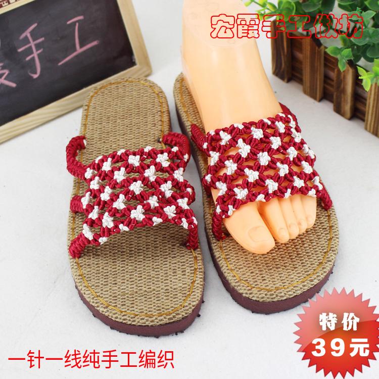 2017新款手工编织凉拖鞋 中国结线花朵凉托鞋 亚麻高坡跟凉鞋包邮