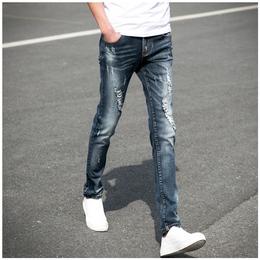 bf风牛仔裤男士2018新款膝盖刮烂深色高街裤子潮牌欧美紧身中学生