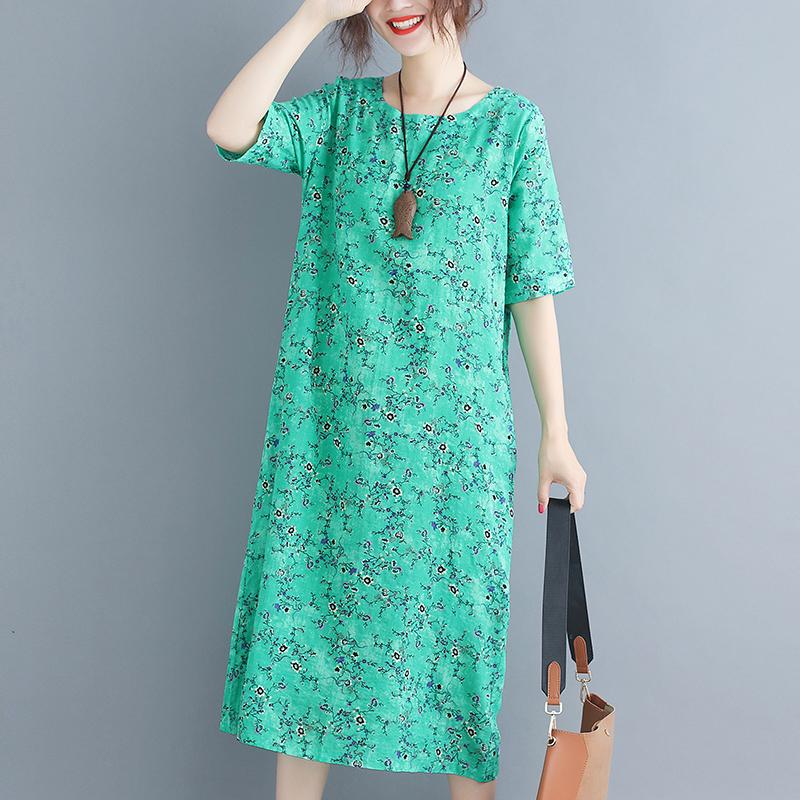 复古印花连衣裙女显瘦夏季新款民族风女装裙子宽松圆领棉麻长裙
