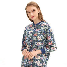 Copper cow underwear Ms. Spring and Autumn cotton cardigan home service Middle-aged mother plus fat plus size single-piece shirt
