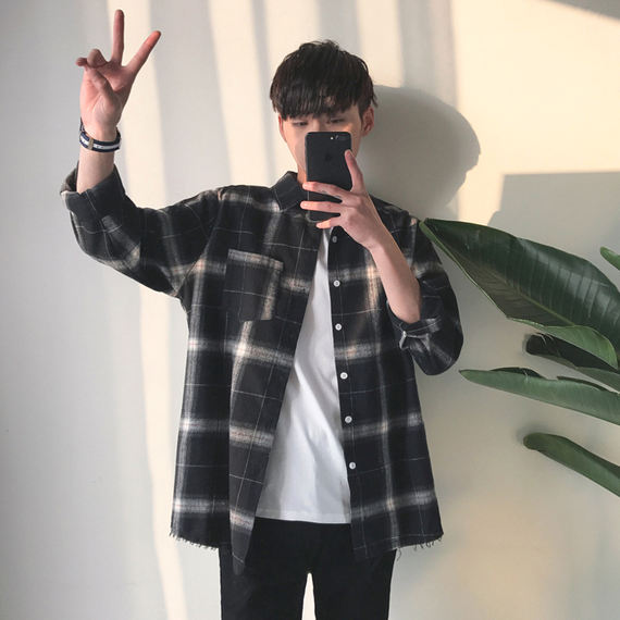 Ins plaid shirt jacket men's shirt long-sleeved Korean version of the trend loose autumn literary port wind casual spring and autumn