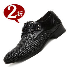 Summer hollow leather shoes men's leather sandals England formal business casual woven soft leather soft bottom hole shoes men
