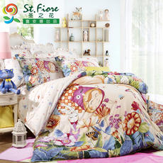 The rich Anna produced St. flower cotton satin suite cartoon cute children four-piece bedding Magic Forest