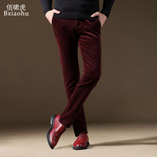 Autumn and winter models corduroy men's pants winter men's casual pants plus velvet thickening velvet pants Slim feet long pants men