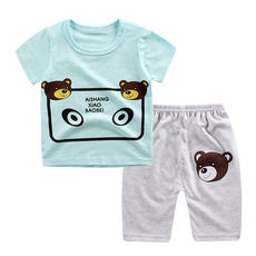 Summer new children's casual harem pants suit baby short-sleeved shorts suit thin section 0-1-2-3-4 years old