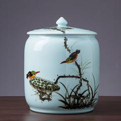 米缸带盖米桶25斤面粉缸防潮防虫密封茶叶缸油缸杂粮储物罐陶瓷