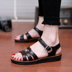 Summer mom sandals flat with flat bottom middle-aged sandals middle-aged women's sandals waterproof soft bottom large size beach shoes
