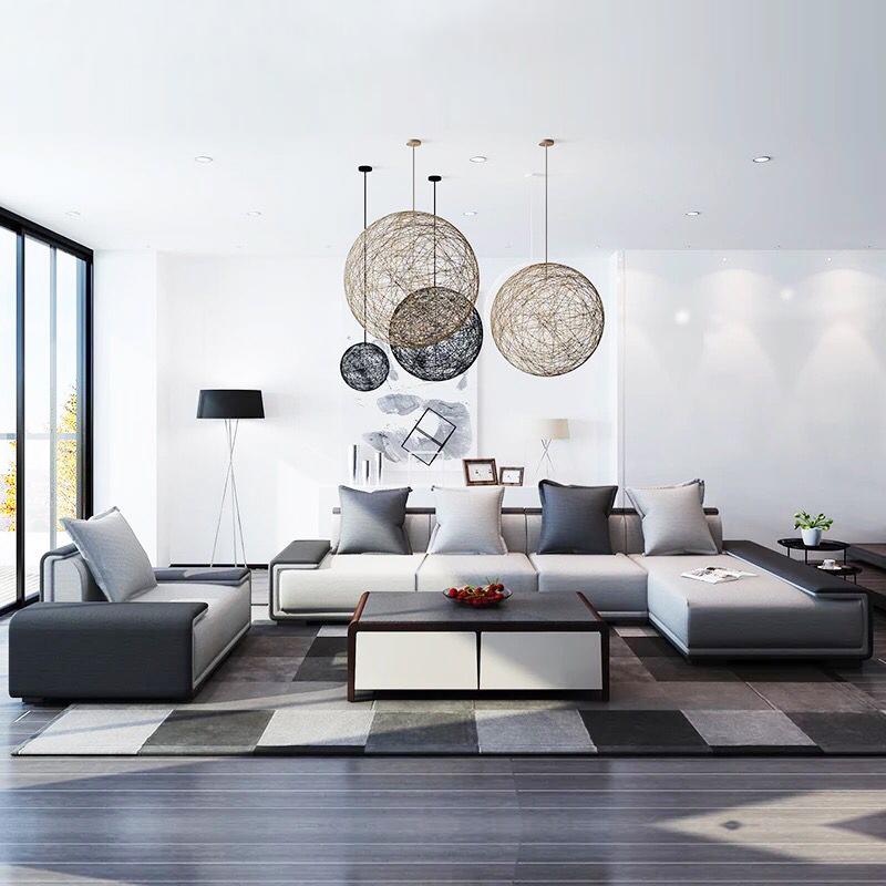 北欧布艺沙发大户型组合极简现代简约转角整装可拆洗轻奢棉麻沙发图片