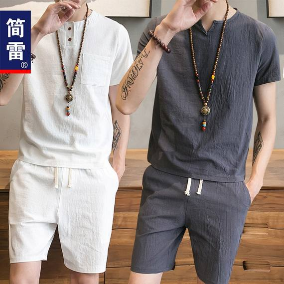 Jane Lei summer new short-sleeved t-shirt male v-neck Korean version of the trend half-sleeved large size beach t-shirt men's suit