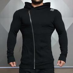 运动外套男肌肉兄弟卫衣训练长袖修身连帽上衣跑步透气弹力健身服