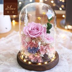 DILOVE进口永生花礼盒玻璃罩干花玫瑰花情人节礼物生日送女友diy