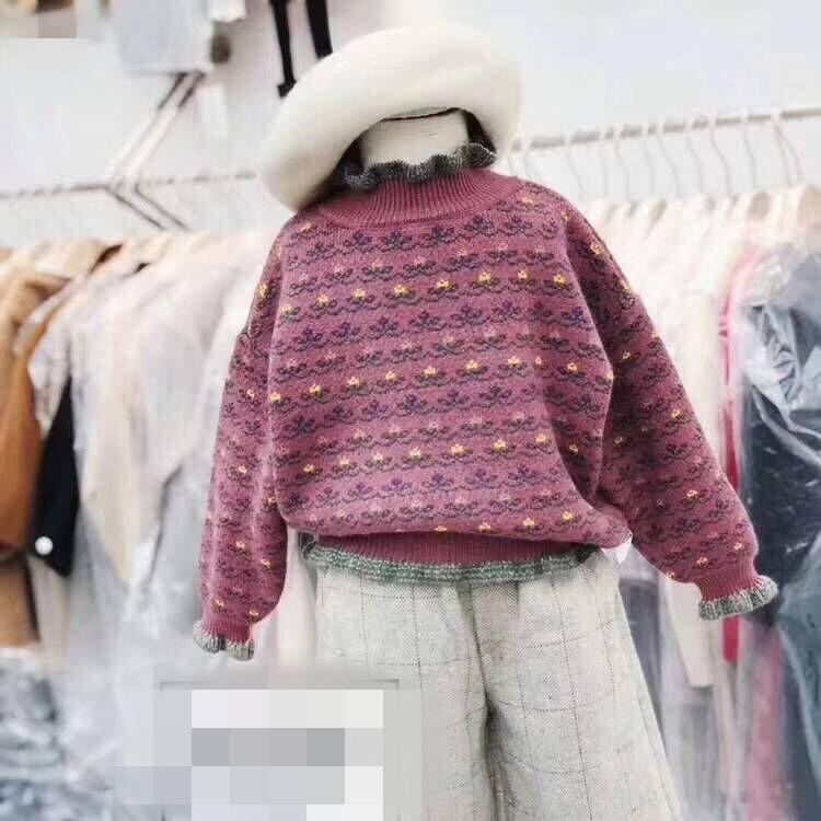 包邮童装2018秋季新款女童洋气木耳边中领长袖针织衫公主百搭毛衣
